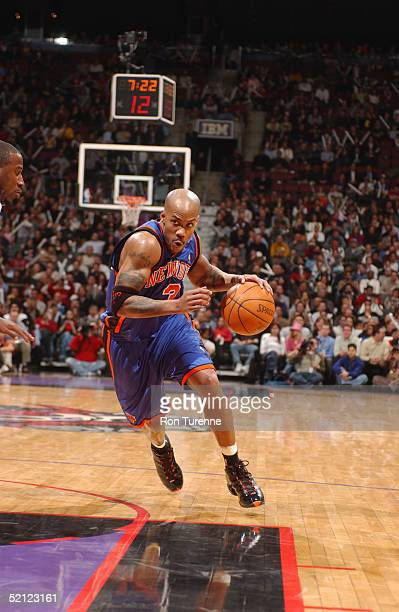 Stephon Marbury of the New York Knicks drives against the Toronto Raptors during the game on January 19 2005 at the Air Canada Centre in Toronto...