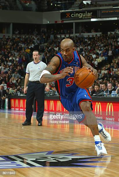 Stephon Marbury of the New York Knicks drives the ball to the basket against the Sacramento Kings on February 24 2004 at Arco Arena in Sacramento...