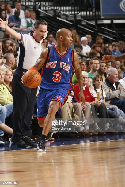 Stephon Marbury of the New York Knicks moves the ball against the Dallas Mavericks during the game at American Airlines Center on March 30 2007 in...