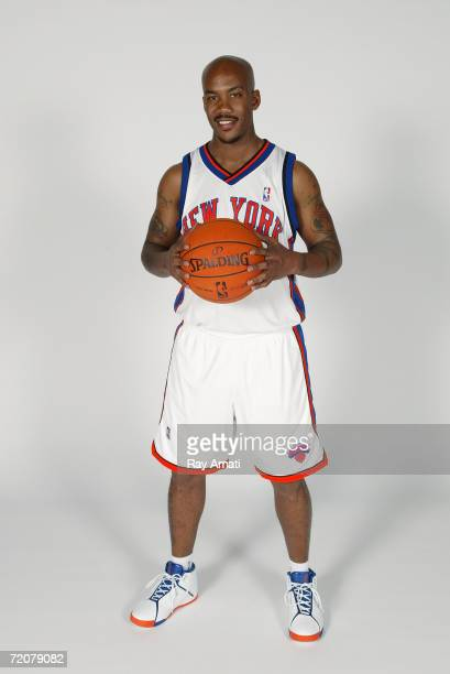 Stephon Marbury of the New York Knicks poses during NBA Media Day at the MSG Training Facility on October 2, 2006 in Tarrytown, New York. NOTE TO...