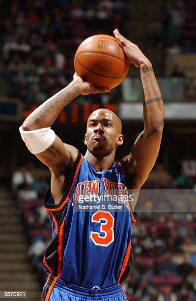 Stephon Marbury of the New York Knicks shoots a free throw during the game against the New Jersey Nets on April 2 2004 at Continental Airlines Arena...