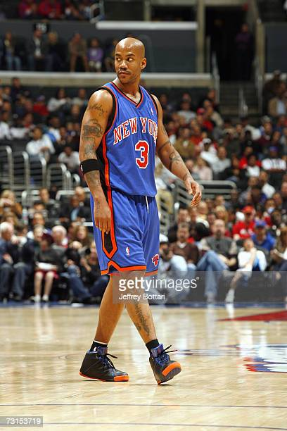 Stephon Marbury of the New York Knicks walks across the court during the game against the Los Angeles Clippers on December 31 2006 at Staples Center...