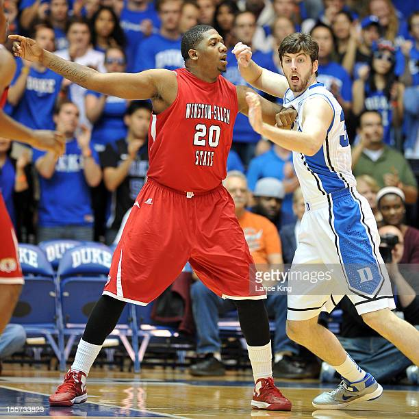 Stephon Platt of the WinstonSalem State Rams calls for the ball against Ryan Kelly of the Duke Blue Devils at Cameron Indoor Stadium on November 1...