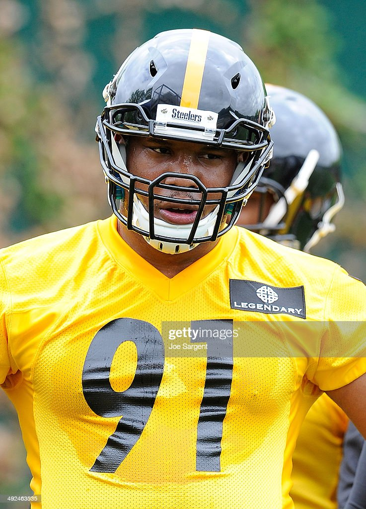Stephon Truitt #91 of the Pittsburgh Steelers participates in drills during rookie minicamp at the Pittsburgh Steelers Training Facility on May 16, 2014 in Pittsburgh, Pennsylvania.