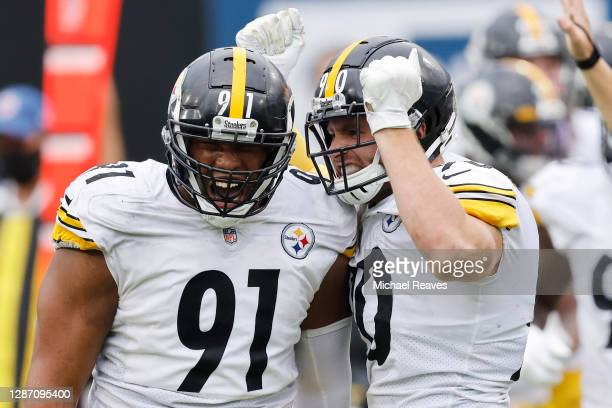 Stephon Tuitt and T.J. Watt of the Pittsburgh Steelers celebrate a sack during the second half against the Jacksonville Jaguars at TIAA Bank Field on...