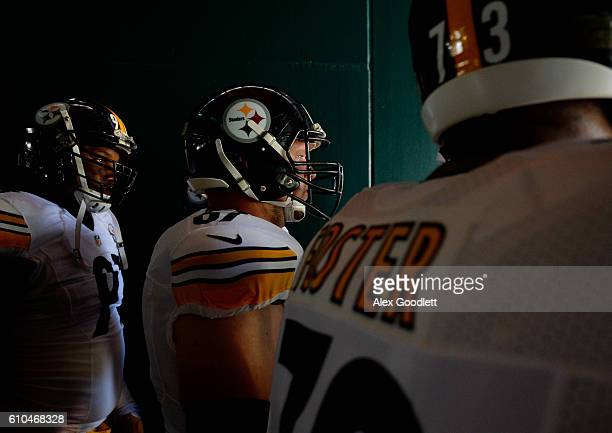 Stephon Tuitt Anthony Chickillo and Ramon Foster of the Pittsburgh Steelers leave the tunnel before playing against the Philadelphia Eagles at...