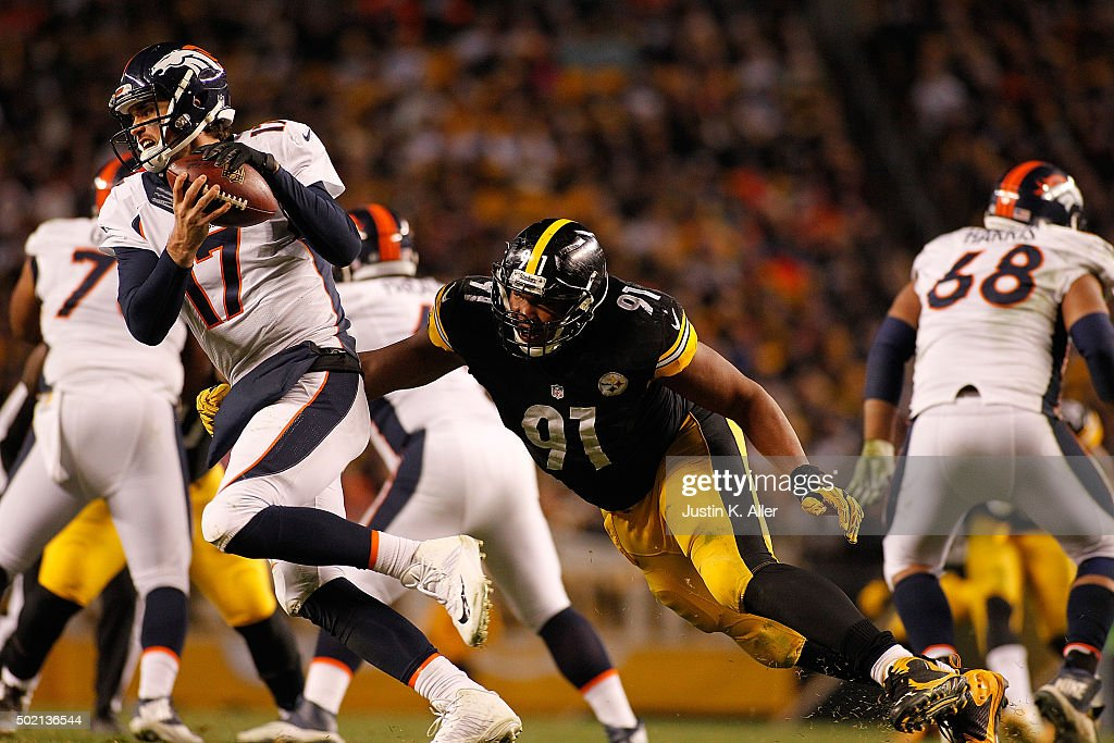 Stephon Tuitt #91 of the Pittsburgh Steelers goes in for the sack on Brock Osweiler #17 of the Denver Broncos during the game at Heinz Field on December 20, 2015 in Pittsburgh, Pennsylvania.