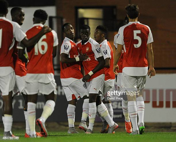 Stephy Mavididi celebrates scoring Arsenal's 2nd goal with Kaylen Hinds during the match between Arsenal U21 and Derby County U21 at Meadow Park on...