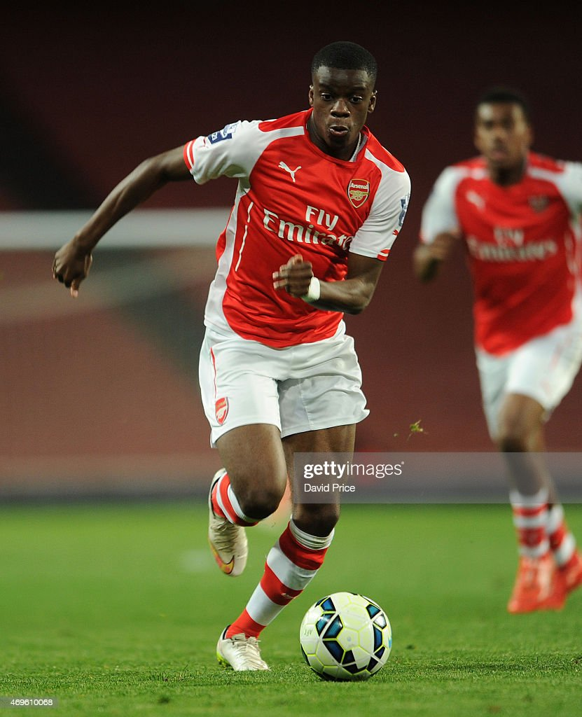 Stephy Mavididi of Arsenal during the match between Arsenal U21 and Reading U21 in the Barclays Premier U21 League at Emirates Stadium on April 13, 2015 in London, England.