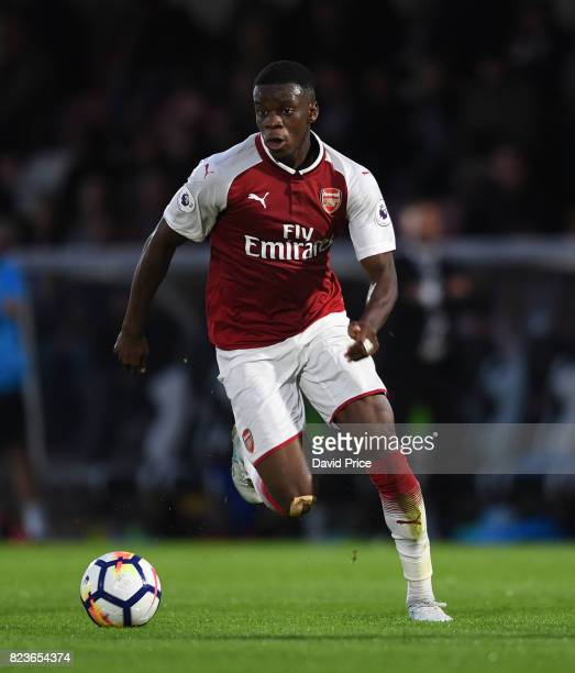 Stephy Mavididi of Arsenal during the match between Boreham Wood and Arsenal XI at Meadow Park on July 27 2017 in Borehamwood England