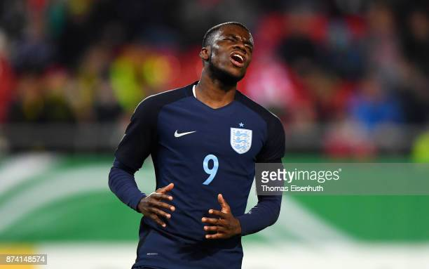 Stephy Mavididi of England reacts during the Under 20 International Friendly match between U20 of Germany and U20 of England at Stadion Zwickau on...