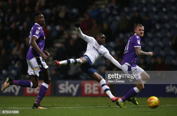 Stephy Mavididi of Preston North End shoots past David Wheater of Bolton Wanderers during the Sky Bet Championship match between Preston North End...