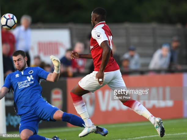 Stephy Mavididi scores Arsenal's 2nd goal during the match between Boreham Wood and Arsenal XI at Meadow Park on July 27 2017 in Borehamwood England