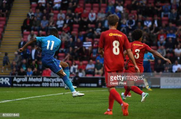 Stephy Mavididi scores Arsenal's 3rd goal during the match between Leyton Orient and Arsenal U23 at Brisbane Road on August 1 2017 in London England