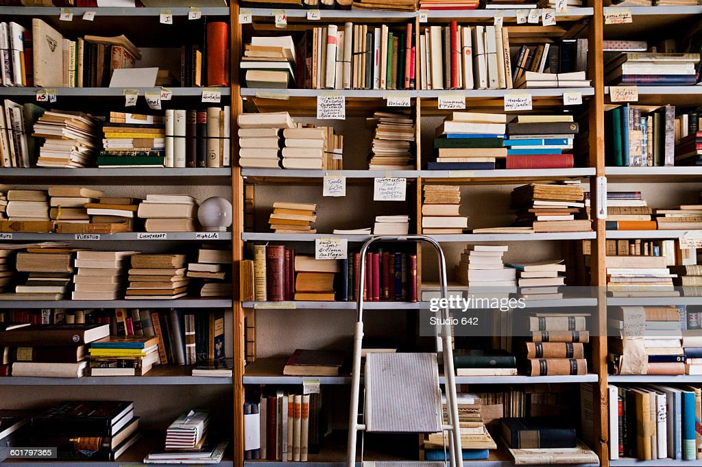 Stepladder by bookshelves in library : Stock Photo