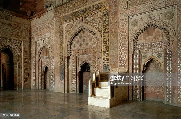 A stepped pulpit or minbar set between prayer niches on the western side of the courtyard at the Jamid Masjid mosque in Fatehpur Sikri The mosque was...