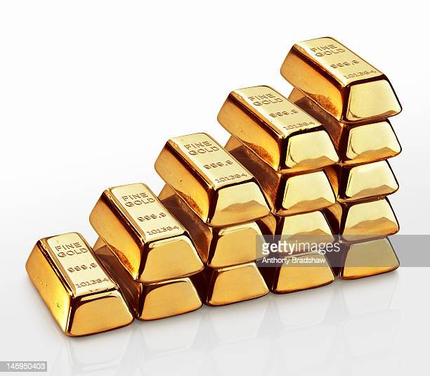 Stepped stack of gold ingots