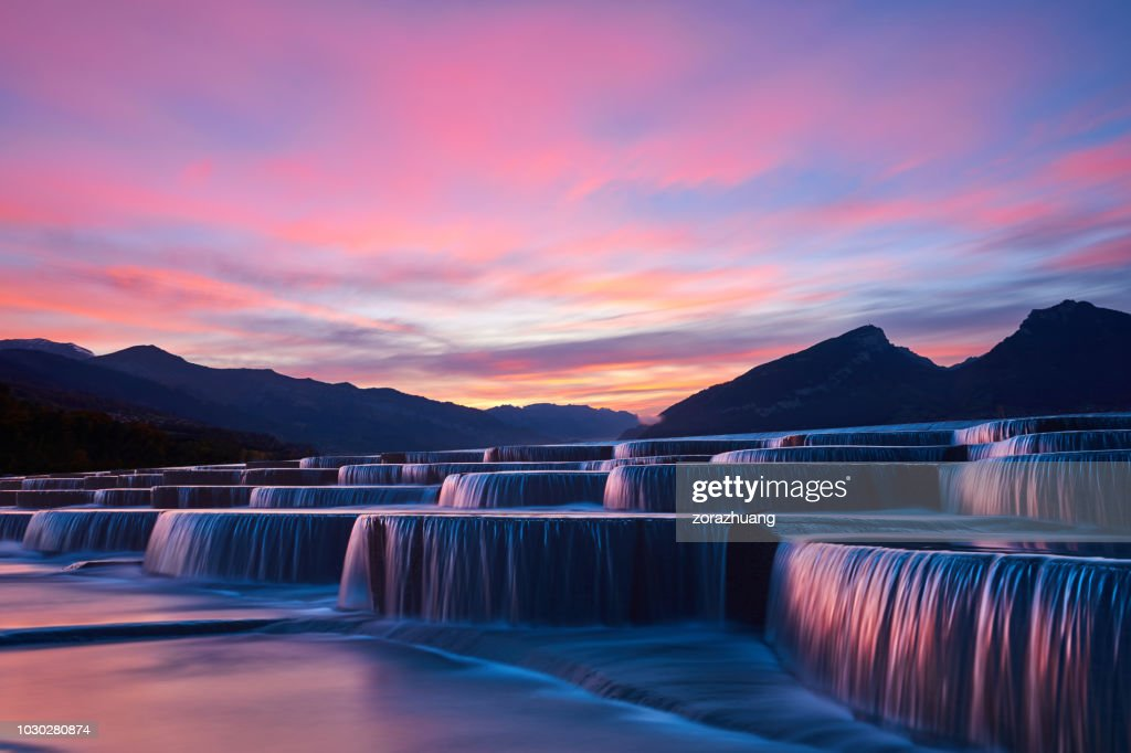 Stepped Waterfall Group at Sunrise : Stock Photo