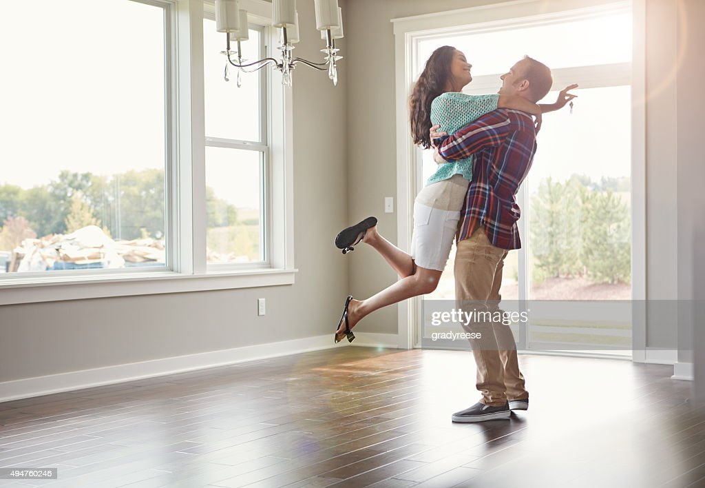 Stepping into their new life together : Stock Photo