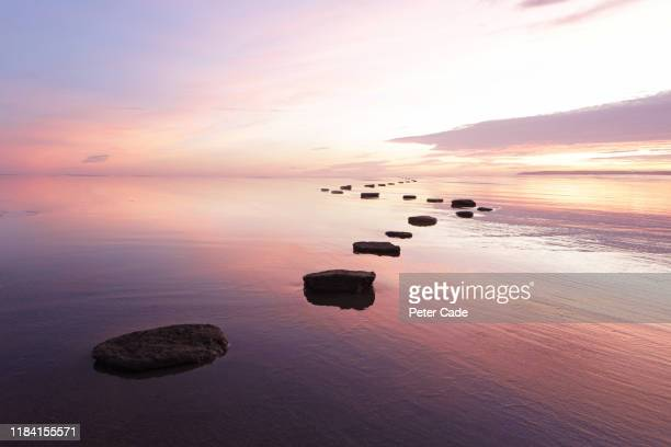 stepping stones over tranquil water - kalmte stockfoto's en -beelden