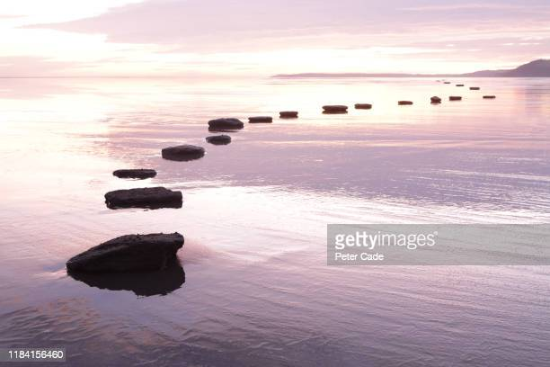 stepping stones over tranquil water - idyllic stock pictures, royalty-free photos & images