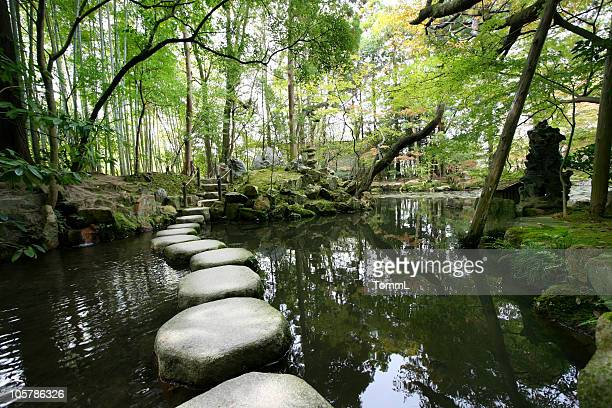 stepping stones - japanese garden stock photos and pictures