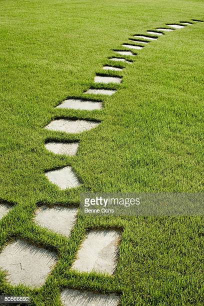 stepping stones through a lawn - paving stone stock pictures, royalty-free photos & images