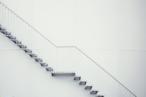 Steps Against White Wall - gettyimageskorea