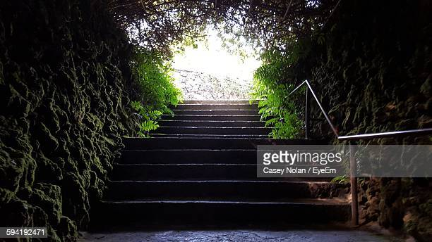 steps amidst stone wall against sky - casey nolan stock pictures, royalty-free photos & images