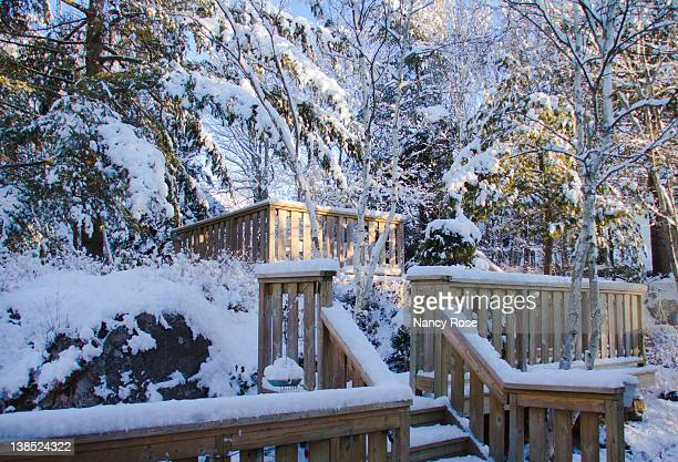 steps and railings covered with snow - bedford nova scotia stock pictures, royalty-free photos & images