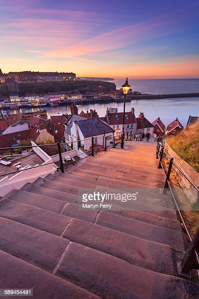 199 steps at sunset - north yorkshire stock pictures, royalty-free photos & images