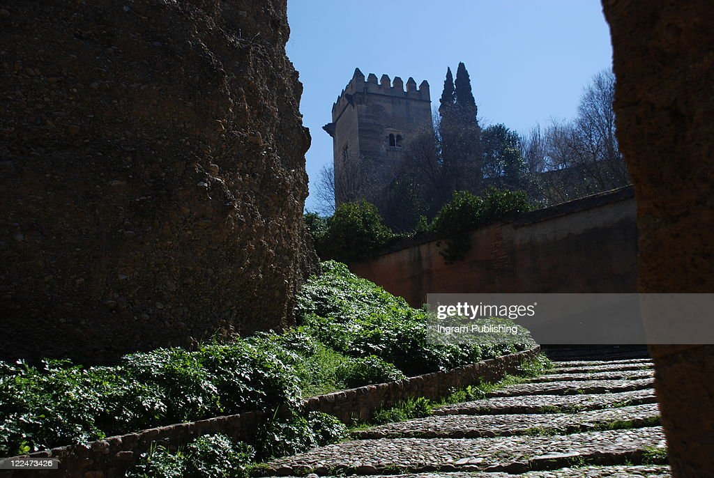 Steps at the approach to the Alhambra, Granada, Andalusia, Spain, : ストックフォト