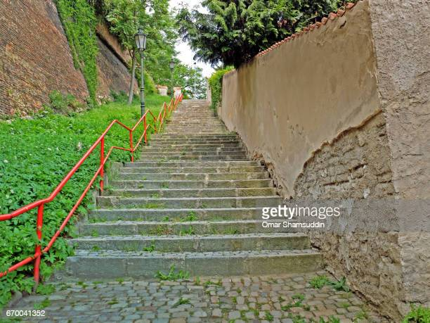 steps at the back alley in prague, czech republic - omar shamsuddin stock pictures, royalty-free photos & images