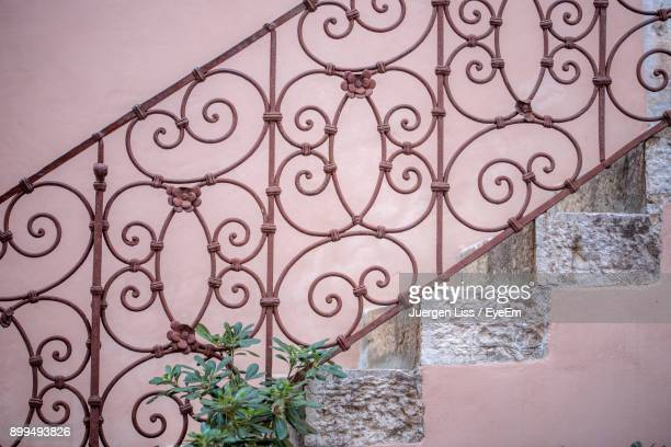 steps by wall - railings stock photos and pictures