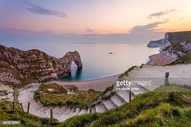 steps down to durdle door - south australia stock photos and pictures