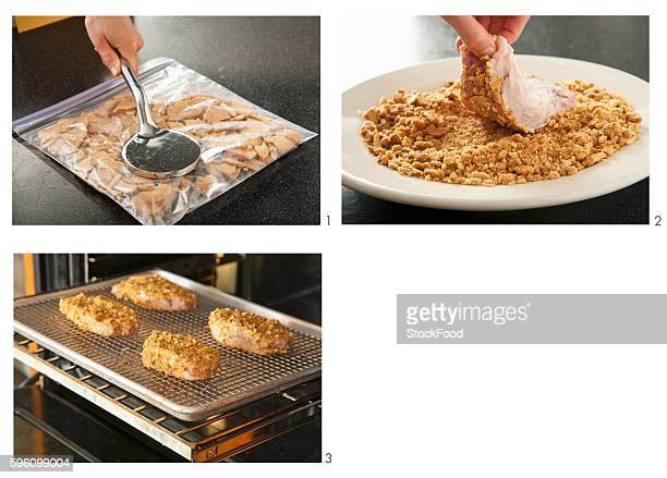 steps for coating and baking chicken - breaded stock photos and pictures