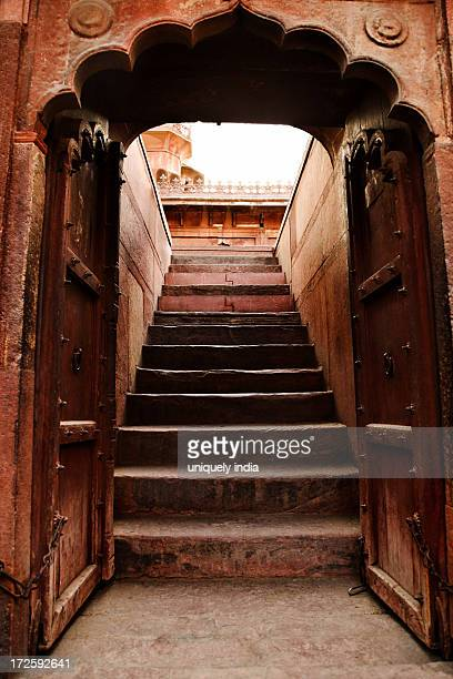 Steps in a fort, Agra Fort, Agra, Uttar Pradesh, India