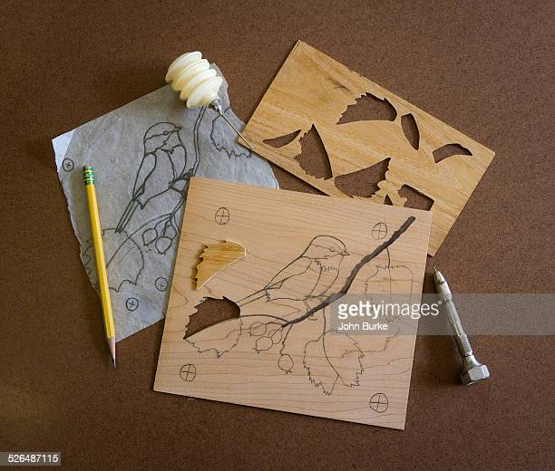 steps in doing marquetry - marquetry stock photos and pictures