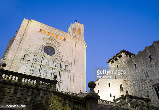 Steps in front of Girona Cathedral at dusk, low angle view, Girona, Spain