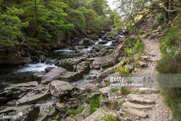 Steps in the Aberglaslyn Pass, Beddgelert, Snowdonia national park, Wales