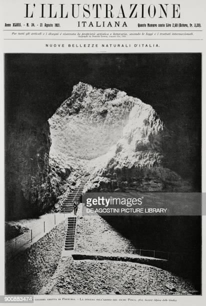 Steps leading down to the Pivka underground river Postojna caves Slovenia from L'Illustrazione Italiana Year XLVIII No 34 August 21 1922