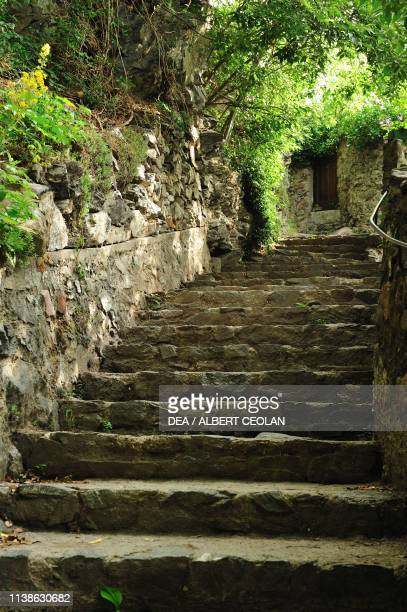 Steps leading from Chiusa to Saben Abbey, Eisack Valley, Trentino-Alto Adige, Italy.