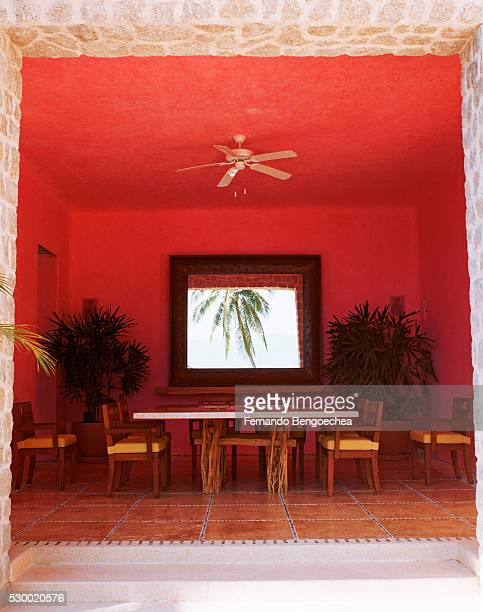 steps leading to red dining room - fernando bengoechea stock pictures, royalty-free photos & images