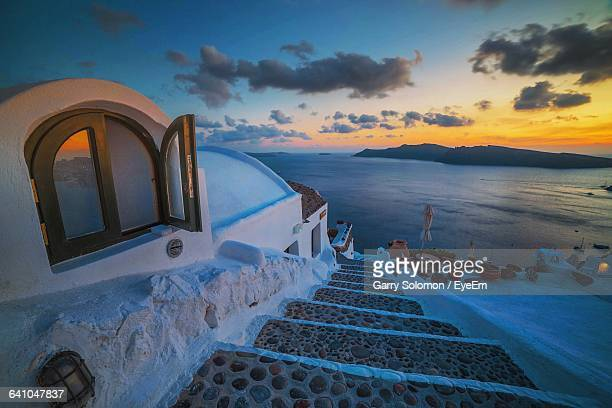 Steps Leading Towards Sea During Sunset At Santorini