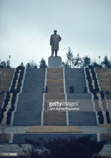 Steps leading up a hill to a statue of North Korean Communist leader Kim Ilsung North Korea February 1973