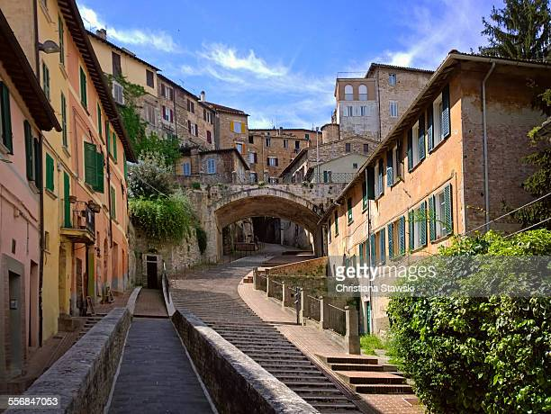 steps leading up into the city center - perugia stock pictures, royalty-free photos & images
