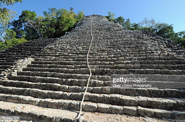 Steps of Mayan Pyramid, Coba, Surrounded by Jungle