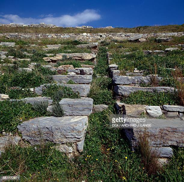 Steps of the Theatre ancient city of Thoricus Attica Greece Greek civilisation 6th century BC