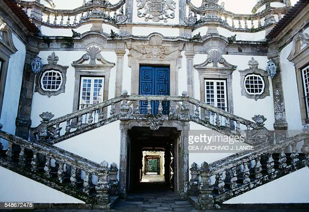 Steps on the main facade of the Solar de Mateus or Mateus Palace residence of the Counts of Vila Real Vila Real Norte Portugal 18th century