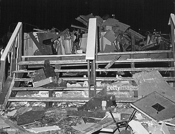 JAN 11 1966 Steps on the south side of the demolished building lead on to rubble The twostory heavy timber and glass structure was located at the...